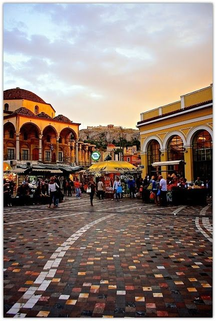 Colourful Monastiraki Square in Athens where I've spent many a happy Sunday, and even got filmed for Greek TV once.