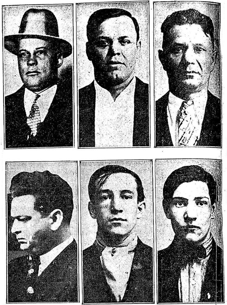 6 of the slain gangsters from the st.valentines day massacre Peter Gusenberg,Frank Gusenberg,James Clark,Albert Weinshank Adam Heyer and John May.