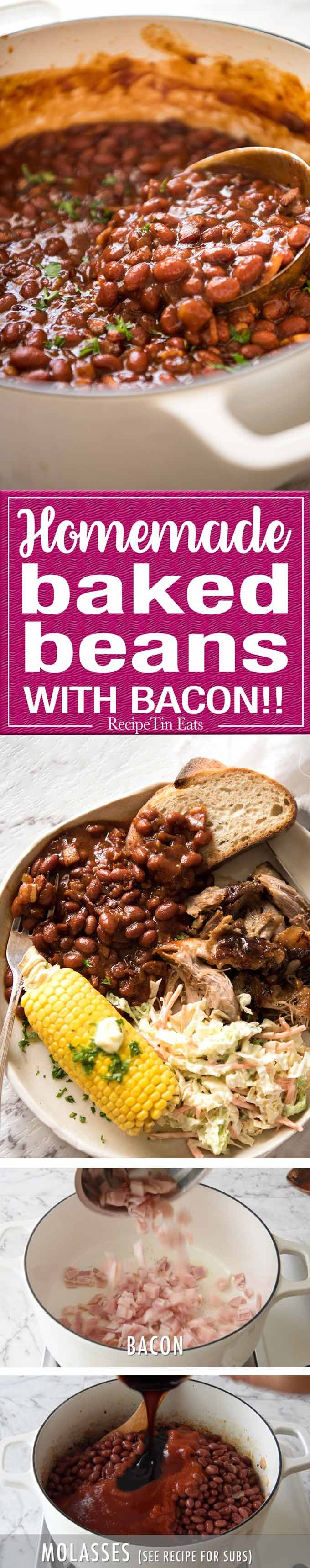 Southern style Homemade Baked Beans with Bacon in a thick, rich savoury sauce with a perfect balance of sweet and a hint of tang.
