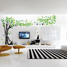 Large Green Tree Wall Sticker Vinyl Living Room Wall Stickers Home Wall Decor Poster vinilos paredes Wall Decoration 215*395cm(China (Mainland))