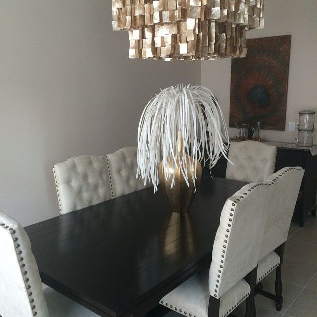 Z Gallerie Rencourt Chairs, Montecito Dining Table, Capiz Chandelier, And  Accolade Vase.