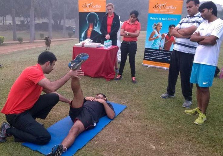 AktivOrtho's Sr. Sports Physiotherapist, Yaasar Nazar, attending a sportsperson...