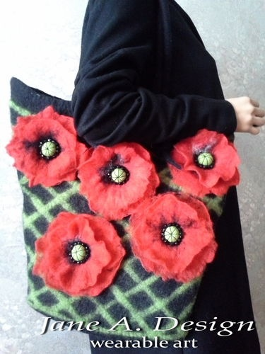 FELTED WOOL, 3D EFFECT, FLOWER, LARGE SHOULDER BAG, PURSE, ART HANDBAG
