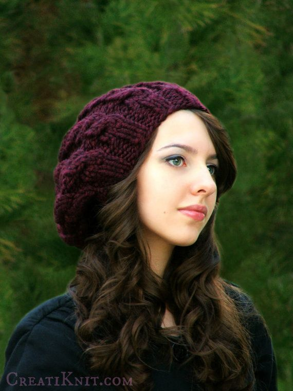 Knitting PATTERN-The Slouch Cables Hat от CreatiKnit на Etsy