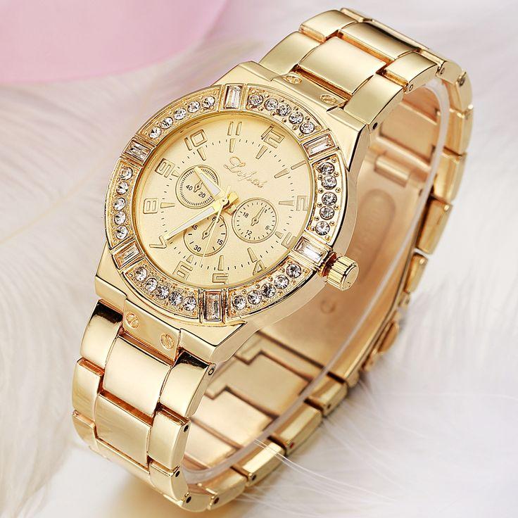 $8.19 (Buy here: https://alitems.com/g/1e8d114494ebda23ff8b16525dc3e8/?i=5&ulp=https%3A%2F%2Fwww.aliexpress.com%2Fitem%2FLP004%2F32744890374.html ) Luxury Brand Lady Gold Watches Women Gold Crystal Gem Geneva Stainless Steel Wristwatch Women Bracelet Ladies Wrist Watch Female for just $8.19