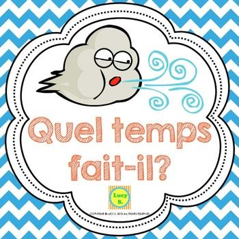 french weather with sentences, interactive books, and qr code centers
