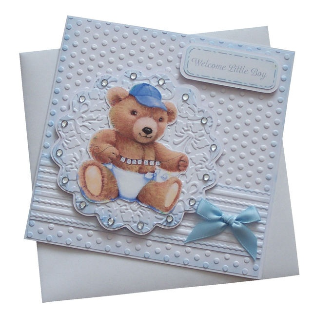 Card Making Ideas New Baby Boy Part - 37: Handmade New Baby Boy Card £1.80