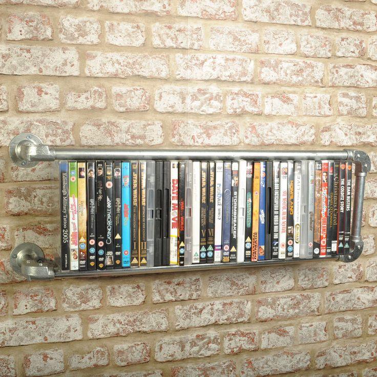 Floating Industrial Style DVD Rack Shelf Vintage Retro Steampunk Pipe Media Book in Home, Furniture & DIY, Furniture, Bookcases, Shelving & Storage | eBay