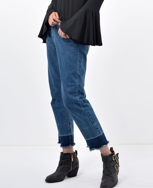Straight Two Tone Cropped Denim Jeans│ Fashion trends online at bosroom.com #denim #croppedjeans #croppeddenim #jeans #fall