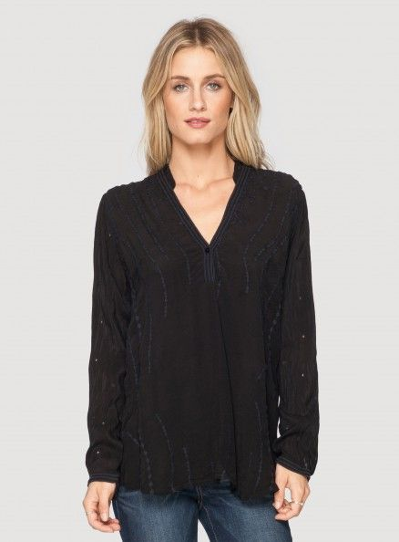 Johnny Was Embroidered Long Sleeve Tribal Top in Black #bohochic #newin #johnnywas
