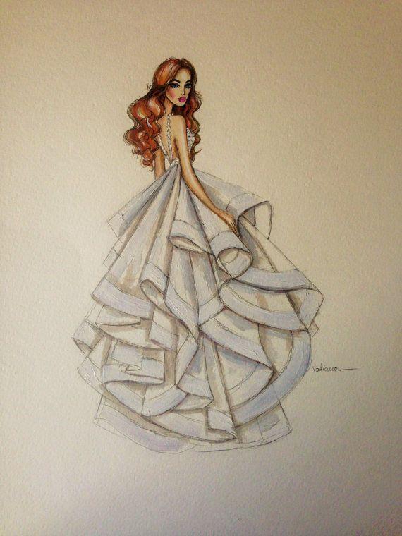Bridal custom fashion illustration/wedding drawing