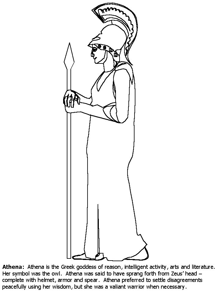 Athena Greek Coloring Pages Coloring Book 6th Grade