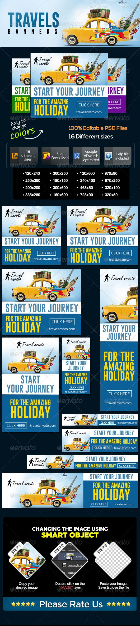 Travel Web Banner Set Template PSD   Buy and Download: http://graphicriver.net/item/travel-banner-set/7076546?WT.ac=category_thumb&WT.z_author=BannerDesignCo&ref=ksioks