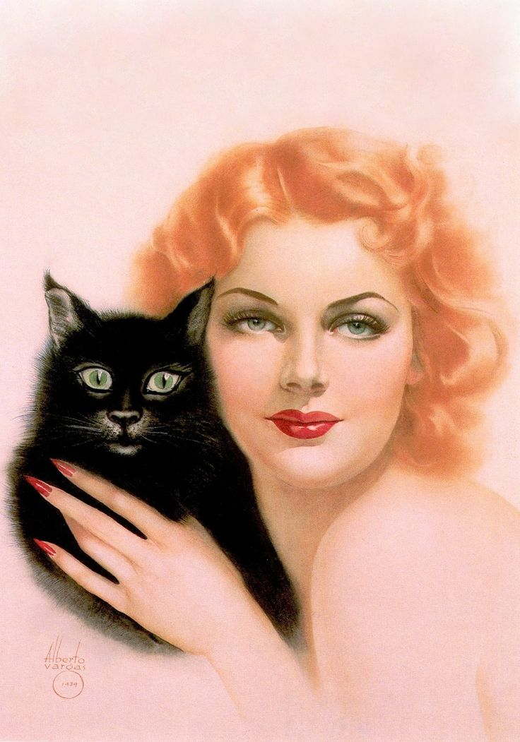 TWO CATS , Ann Sheridan. Aquarelle, Watercolour illustration, Aquarelle, 1939.  (detail of horizontal art) by ALBERTO VARGAS (1896-1982) From Vargas 20's-50's Taschen (please follow minkshmink on pinterest) #vargas #illustration #glamour #pinup #annsheridan #cat #blackcat