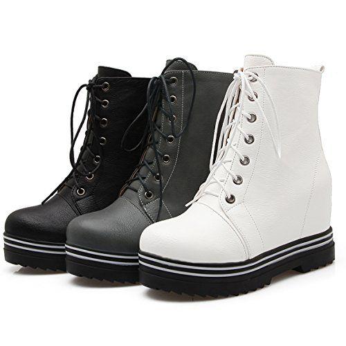 OALEEN – Bottines Compensées Femme à Lacets Clous Chaussures Low Boots Fourrés Plateforme
