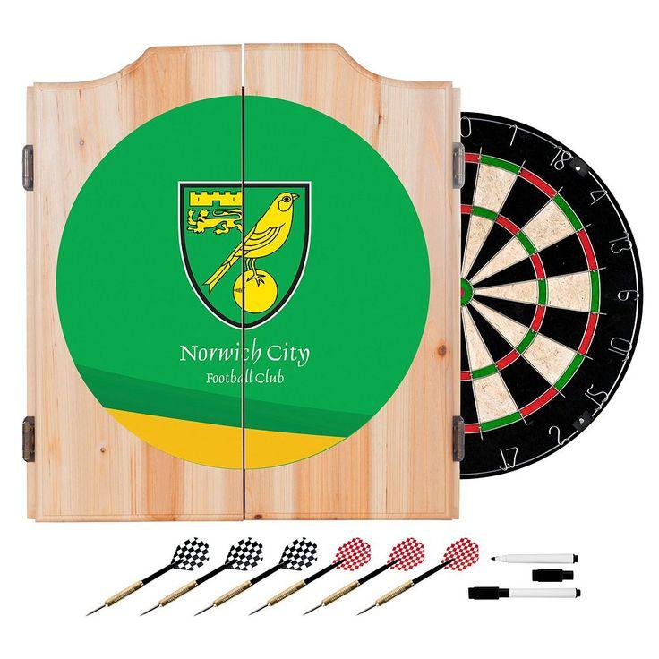 Norwich City FC Cabinet Dart Board Set, Green