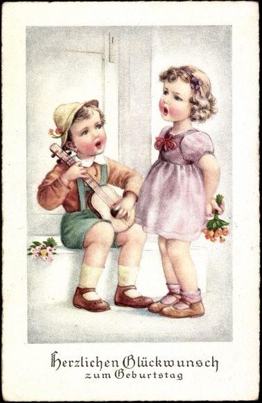 Postcard Gluckwunsch Geburtstag Kinder Singen Ein Standchen A