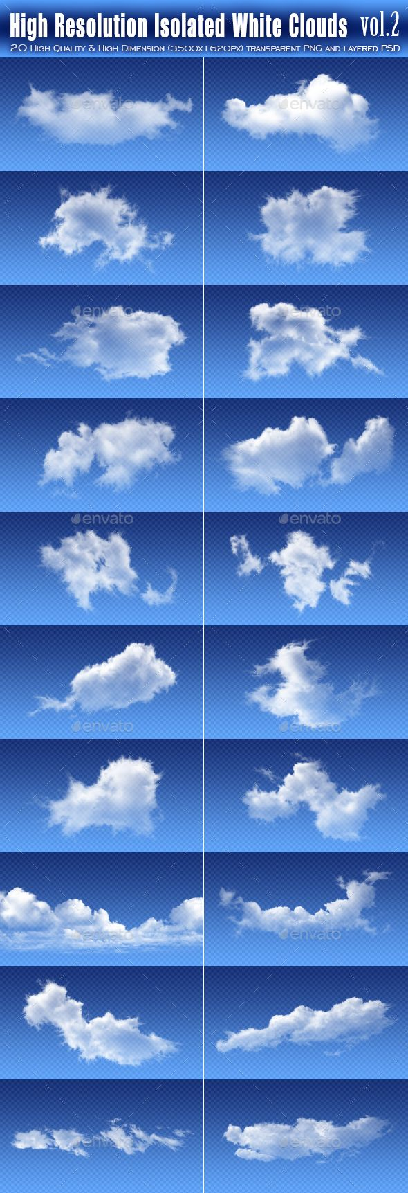 20 High Resolution Isolated White Clouds vol.2