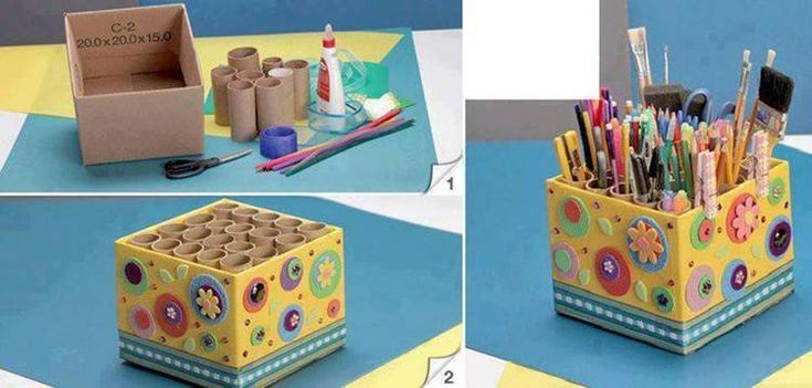Easy Pencil Holder from Toilet Paper Rolls #DIY #craft #recycling