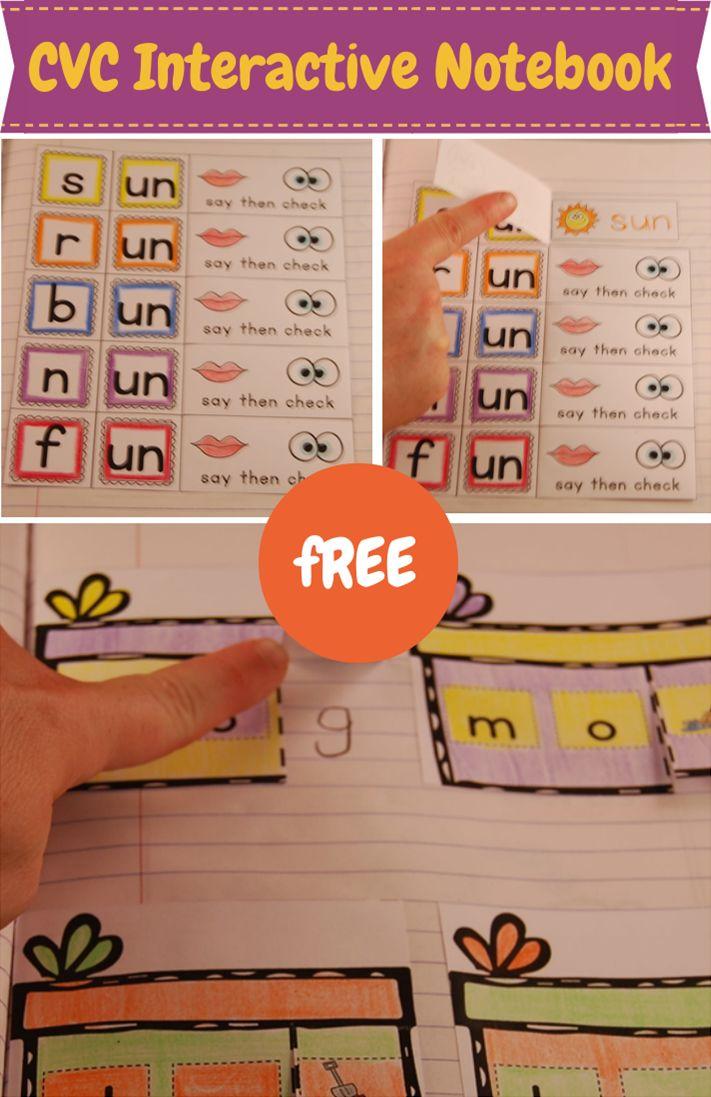 Free Interactive Notebook for CVC words. Great for Kindergarten!