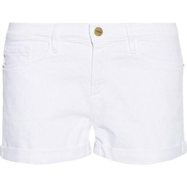 Frame Le Cutoff denim shorts (5.725.610 VND) ❤ liked on Polyvore featuring shorts, white, low rise denim shorts, white denim shorts, cut off shorts, cut-off jean shorts and jean shorts