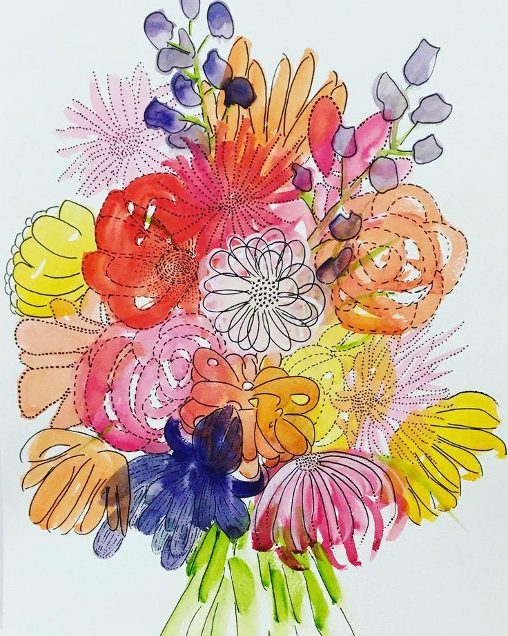 Flowers make my Heart smile. Original watercolour/ink painting by Kim Miatke