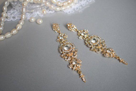 Gold Wedding earring Drop Dangle Earring by Mkedesignwedding