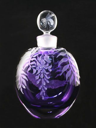 Purple Glass Perfume Bottle with etched fern & flowers.