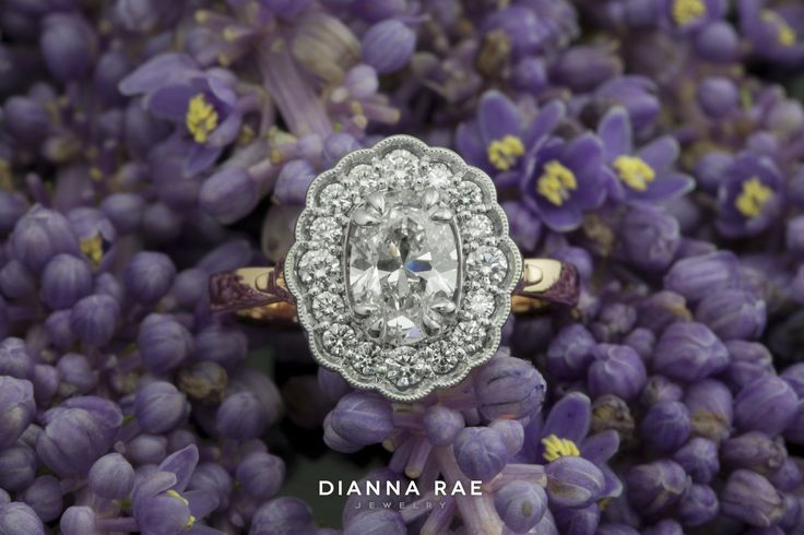Romantic Scalloped New Halo Two-toned White Gold and Rose Gold Diamond Engagement Ring
