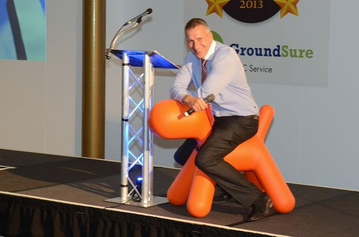 Goliath at the LFS Conveyancing Award with Richard Mathias using him for what he was designed, a children's seat.   No, I'm not calling Richard a child!