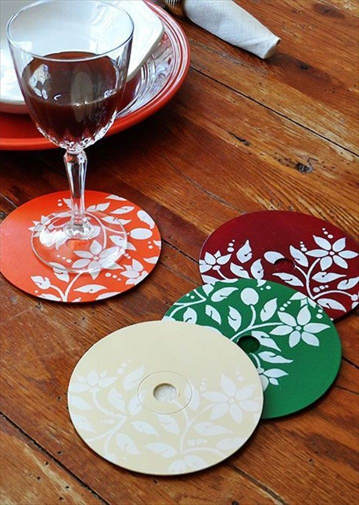 Old CD Coasters- 25 Wonderful DIY Ideas To Do With Old CDs | DIY to Make