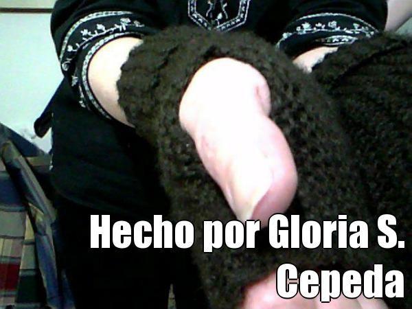 Hecho por Gloria S. Cepeda (courtesy of @Pinstamatic http://pinstamatic.com). manoplas tejidas en musgo, tomadas de la web.