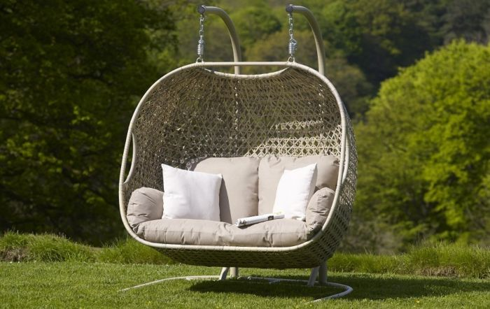 Bramblecrest Ascot Double Hanging Cocoon Including Season Proof New Fawn Cushions Jb Furniture Porch Swing Chair Outdoor Furniture Furniture