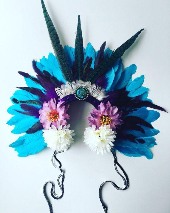 Festival Feather Blue Head Dress Carnival Head Piece Hair Band Showgirl