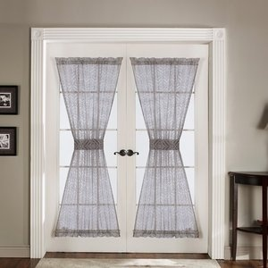 Elegant Door Curtains In Gray   Set Of 2 Intended For Magnetic Curtain Rod