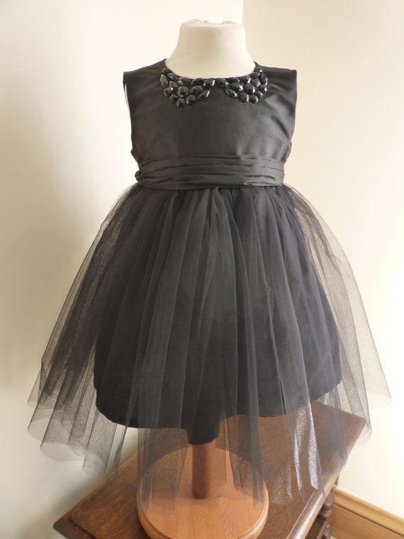 Jet Black Silk Bridesmaids Dress  Girls Dress  by AnnaandAlex, £157.00