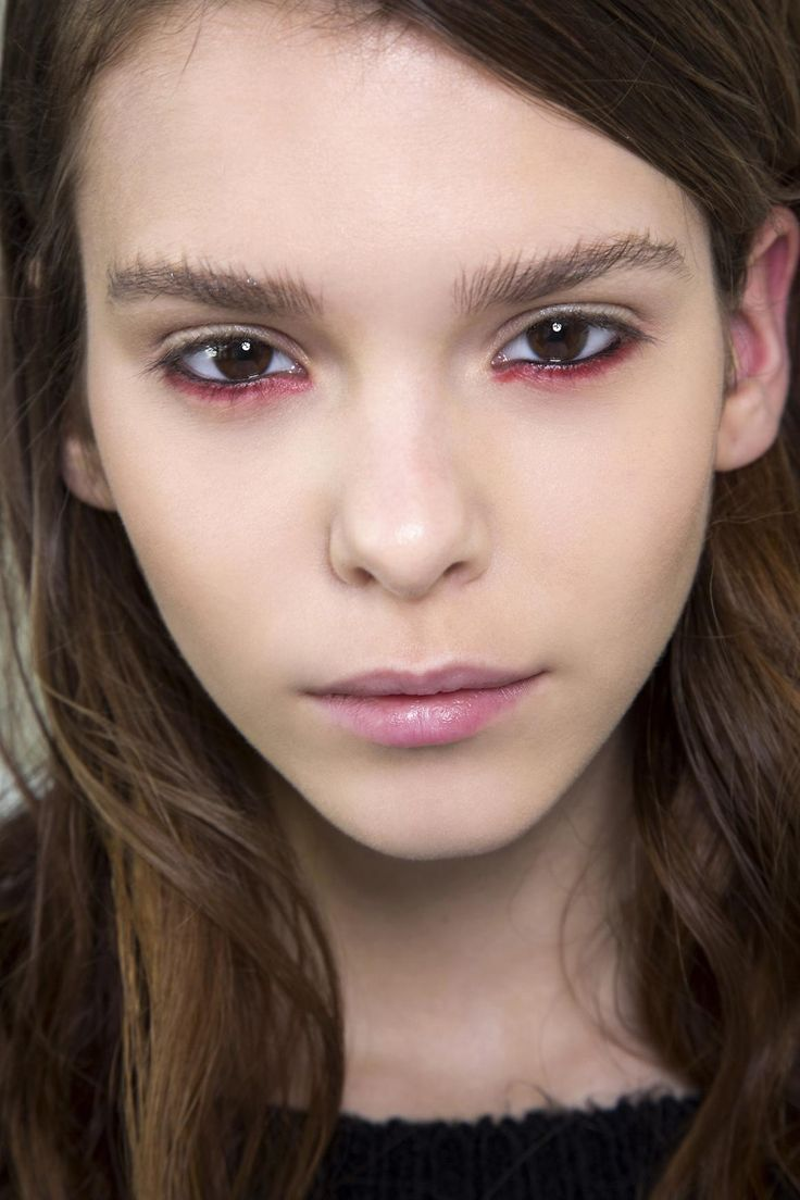 35 Ways to Wear Colorful Eyeliner - vampy, deep red eyeliner on the lower lash line