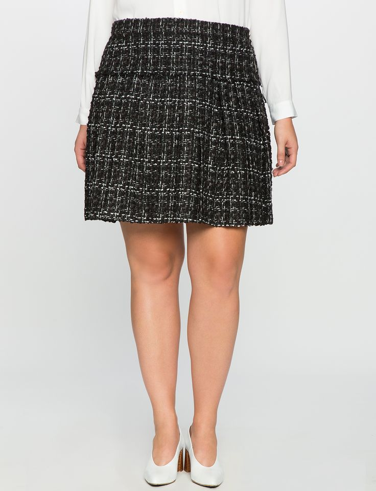 Studio Tweed Trumpet Skirt in Black/White
