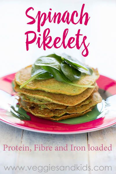 Healthy protein, fibre and iron loaded savoury spinach pikelets.