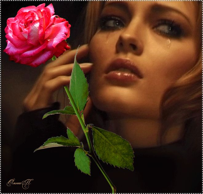 Анимация Плачущая девушка держит в руке красную розу (Ольга Л.)