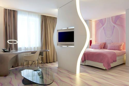 NHOW Berlin Hotel - uber-pink, with an onsite recording studio and guitar room service
