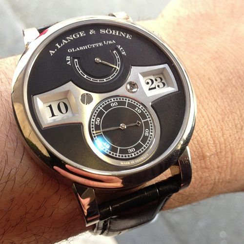 A. Lange & Sohne Zeitwerk mechanical digital jumping hour and jumping minute display.