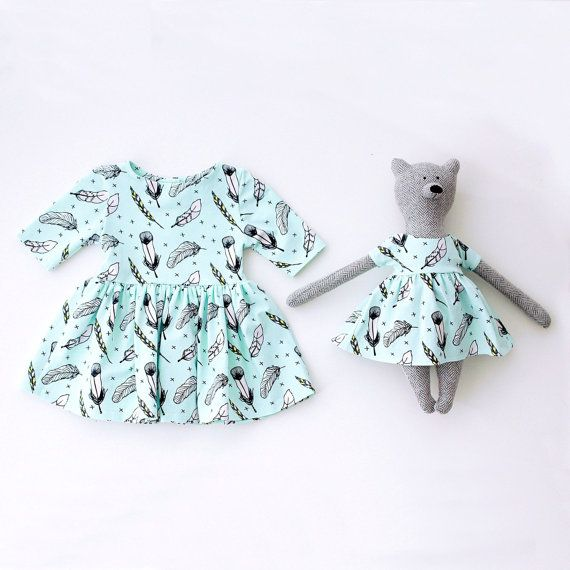 Matching Toy Bear and Baby Organic Cotton Dress in Mint Feathers Print