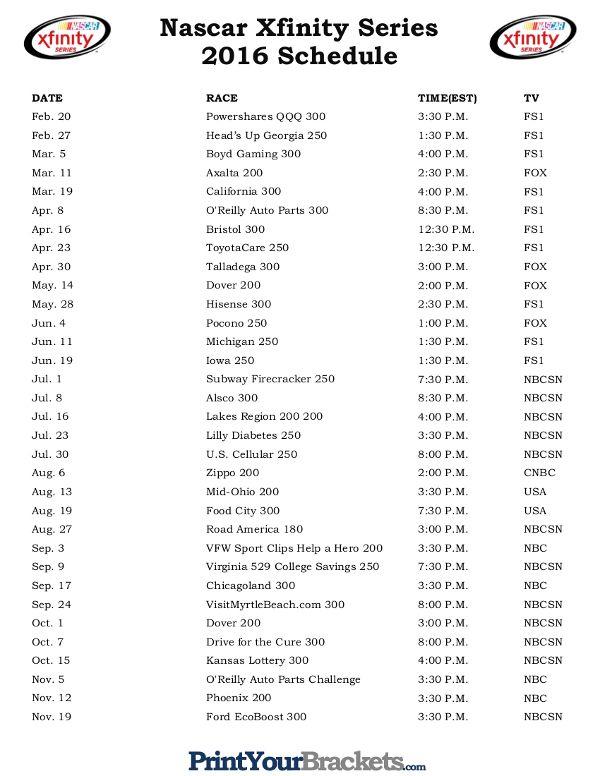 Printable Nascar Xfinity Series Schedule 2016 Worst Wrecks