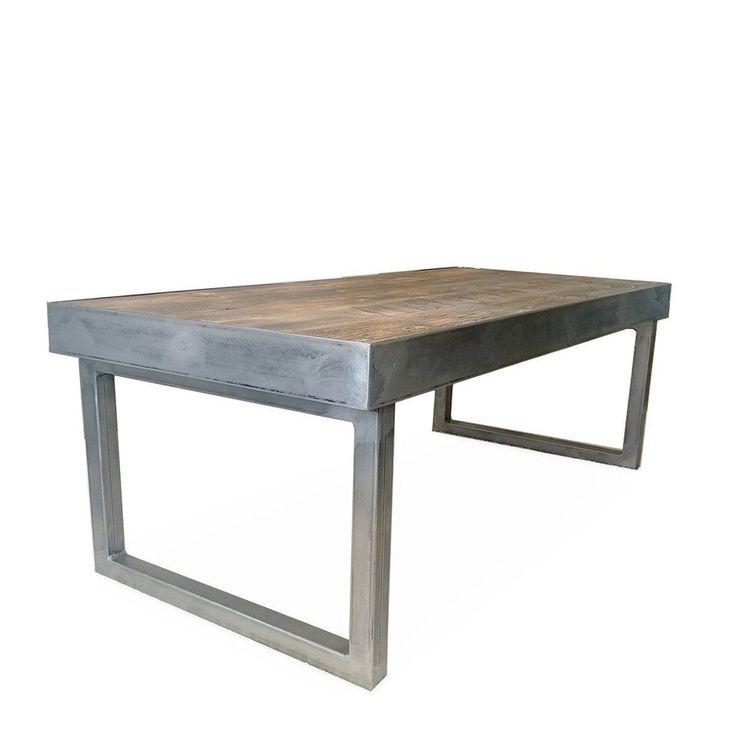 Reclaimed Wood And Metal Coffee Table, Tube Steel Frame