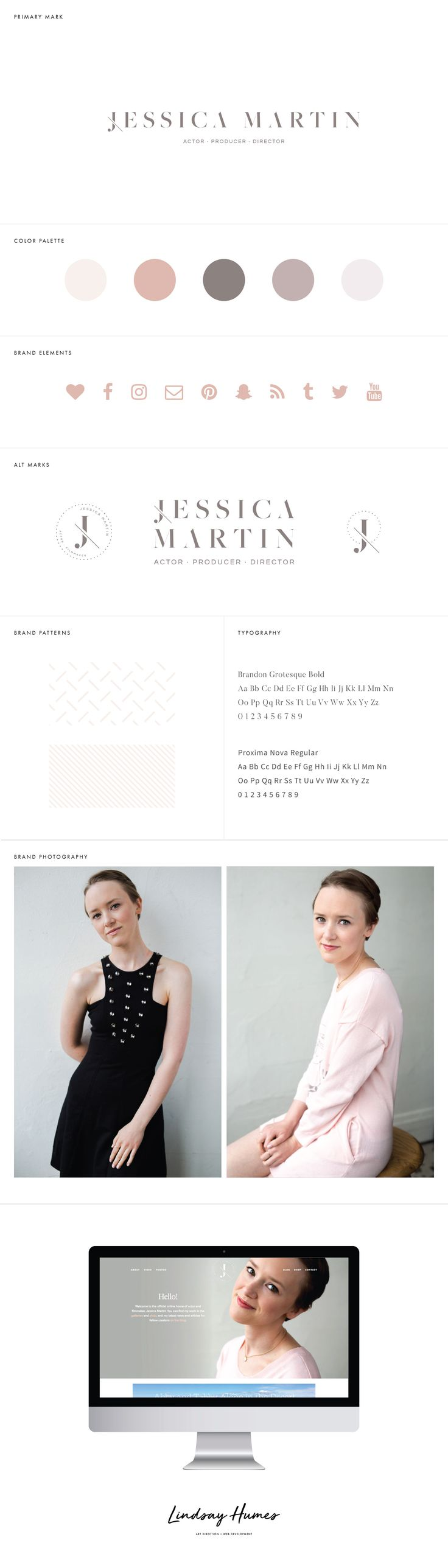 Jessica Erin Martin - actor's website, logo design, wordpress theme, mood board inspiration, blog design idea, graphic design, branding