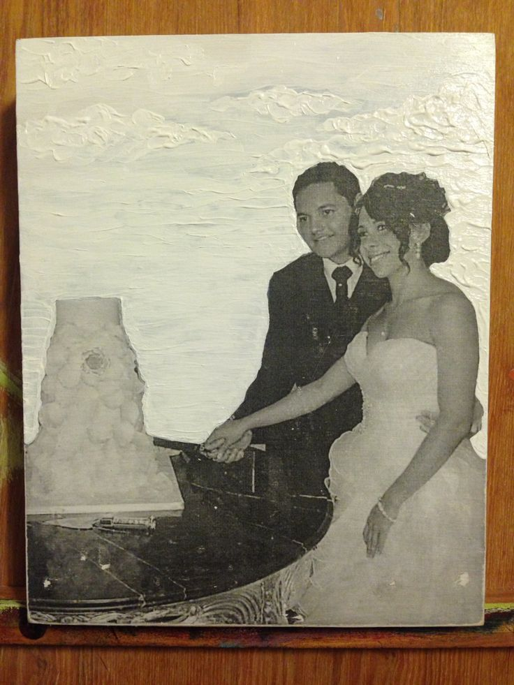 Par Marythée Daigle : Transfert photo sur bois et acrylique 8'X10'/ photo transfert on wood and acrylic  #paint #painting #peinture #photo #acrylic #acrylique #bois #wood  #art #illustration #mariage #love #amour #cake #gateau