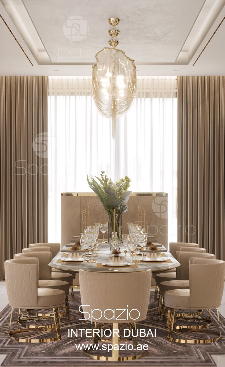 Villa Interior Design In Dubai Luxury Dining Room Decor Dining