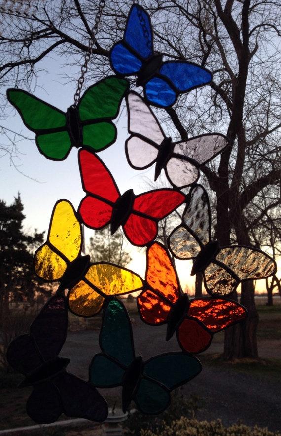 Stained Glass Butterfly Suncatcher by PeaceLuvGlass on Etsy, $68.00