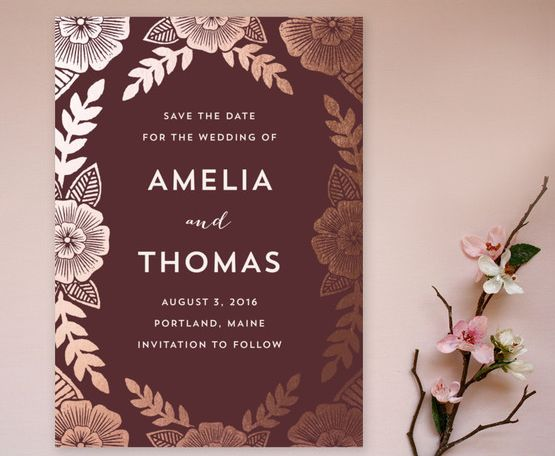 A bold floral save the date card in a deep dark red - perfect for a Fall wedding!